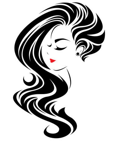 illustration of women long hair style icon, logo women face on white background, vector