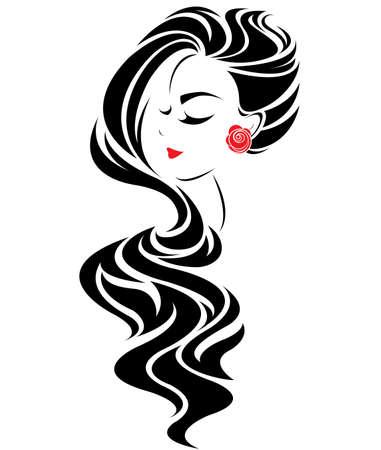 ilustración del icono de las mujeres estilo de pelo largo, las mujeres se enfrentan logotipo sobre fondo blanco, vector Logos