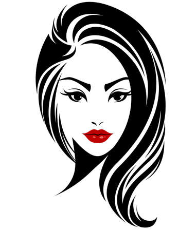 illustration of women long hair style icon,  women face on white background.