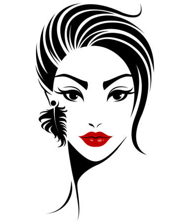 illustration of women short hair style icon.