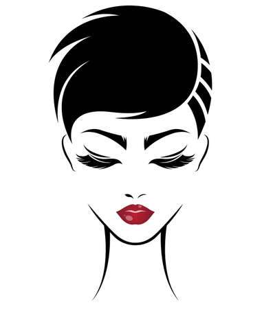 Artistic illustration of women short hair style icon, logo women face on white background.