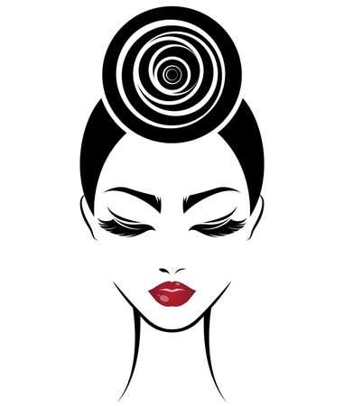 Graphic illustration of women bun hair style icon, logo women face on white background, vector. Illustration