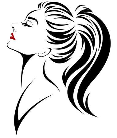 Ilustración de las mujeres ponytail estilo de pelo icono, logo mujeres cara en fondo blanco, vector