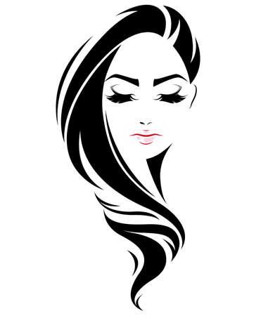 Illustration der Frauen lange Frisur Symbol, das Logo Frauen Gesicht auf weißem Hintergrund, Vektor