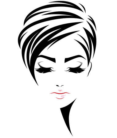 illustration of women short hair style icon, logo women face on white background, vector Illustration
