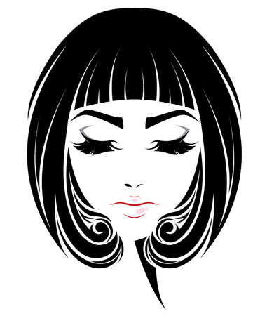 illustration of women short hair style icon, logo women face on white background, vector 向量圖像