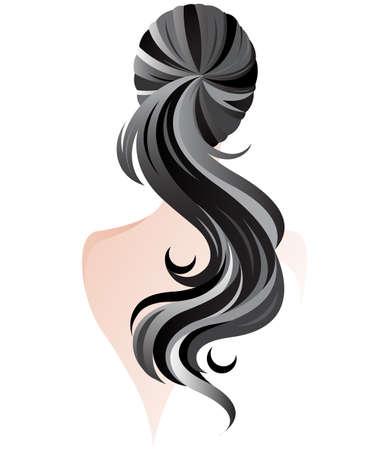 女性のポニーテールの髪のスタイルのイラスト、女性バック白い背景のベクトル