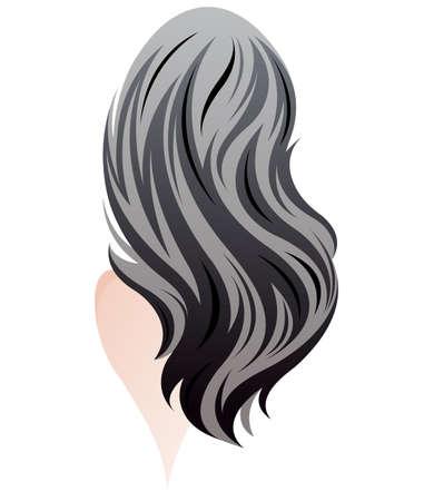 illustration of women long hair style, women back on white background, vector Illustration