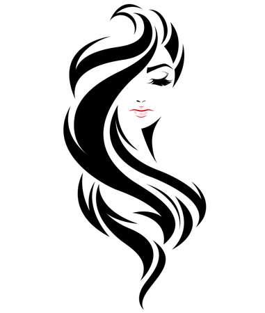 illustratie van vrouwen lang haar stijlicoon, logo vrouwen gezicht op een witte achtergrond, vector