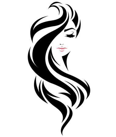 illustration of women long hair style icon, logo women face on white background, vector Фото со стока - 76056816