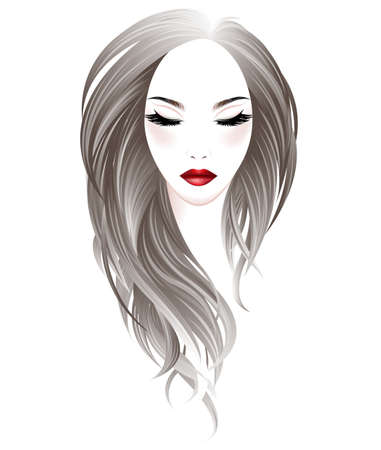 Illustration of women long hair style and make up face on white background, vector Çizim