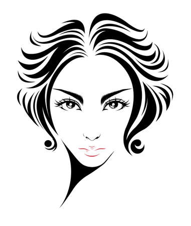 black youth: illustration of women short hair style icon, women on white background, vector Illustration