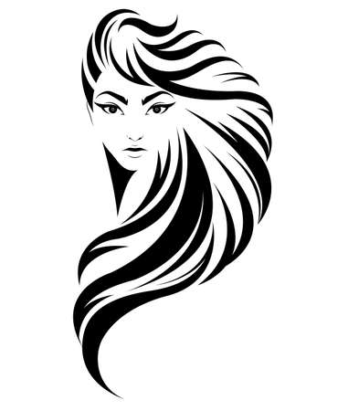 여성의 긴 머리 스타일 아이콘, 흰색 배경에 로고 여성, 벡터 그림