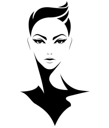 youngster: illustration of women short hair style icon, logo women on white background, vector