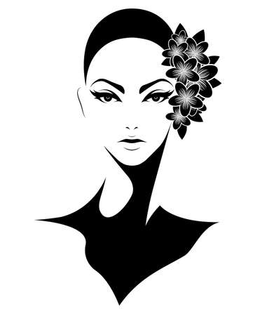 illustration of women short hair style icon, logo women with flowers on white background, vector