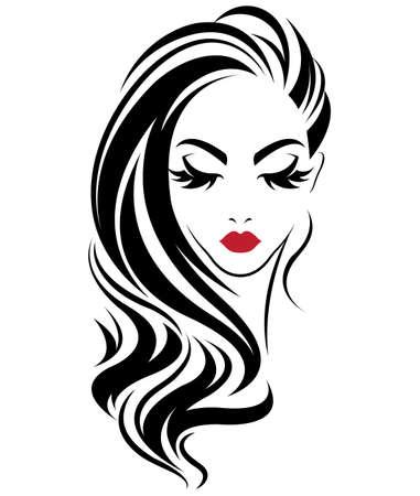 Illustration of women long hair style icon, logo women on white background, vector Zdjęcie Seryjne - 81456463