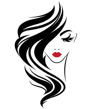 Illustration of women long hair style icon, logo women on white background, vector Banco de Imagens - 81456469
