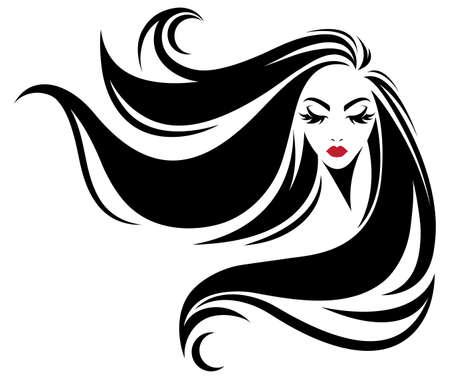 Illustration d'une icône de style cheveux longs, logo femme sur fond blanc, vecteur