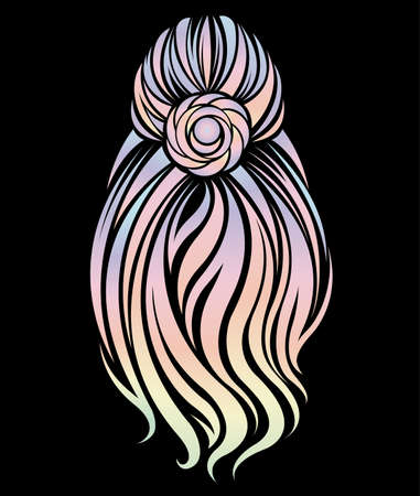 illustration vector of women long hairstyle, womans back hair color on black background Illustration