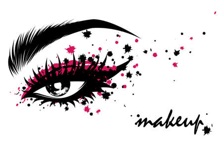 Illustration vector of beautiful eye makeup and brow on white background