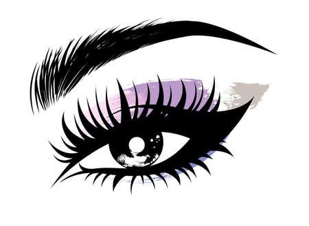 Illustration, vecteur, beau, oeil, maquillage, sourcil, blanc, fond Vecteurs
