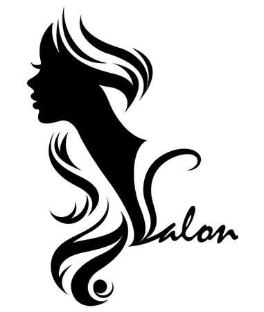 illustration vector of women silhouette icon, women face logo on white background