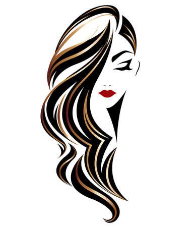 Abbildung der Frauen lange Frisurikone, Logo Frauen auf weißem Hintergrund, Vektor Standard-Bild - 85073838