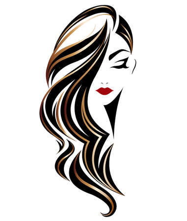 illustration of women long hair style icon, logo women on white background, vector 版權商用圖片 - 85073838