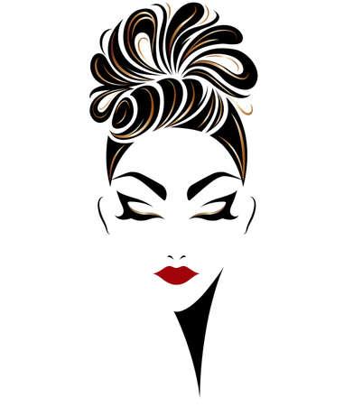 Illustration d'icone de style de cheveux féminin, logo femmes sur fond blanc, vecteur Banque d'images - 85073841