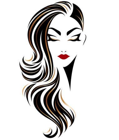 Ilustración de las mujeres de pelo largo icono de estilo, logotipo de las mujeres sobre fondo blanco, vector Logos