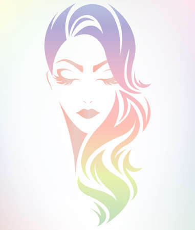 illustration of women hair color style icon, logo women on color background, vector Illustration