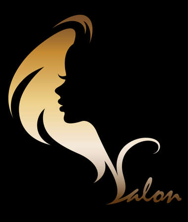 barber: Illustration of women silhouette golden icon.