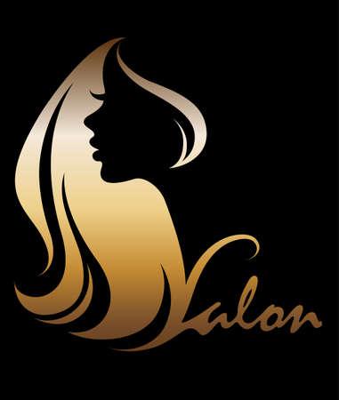 Abbildung Vektor von Frauen Silhouette Golden Icon, Frauen-Logo auf schwarzem Hintergrund Gesicht Standard-Bild - 86277177