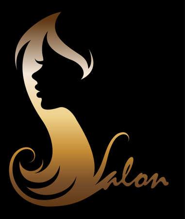 イラスト女性黄金シルエット アイコンの女性は黒い背景にロゴに直面  イラスト・ベクター素材
