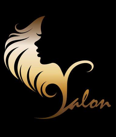 Vetor de ilustração das mulheres silhueta ícone dourado, as mulheres enfrentam logotipo em fundo preto Foto de archivo - 86277179