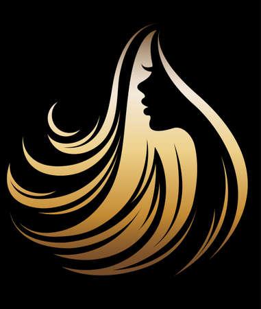 Illustrationsvektor der goldenen Ikone des Frauenschattenbildes, Frauengesichtslogo auf schwarzem Hintergrund Standard-Bild - 86277180