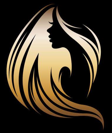 Illustrazione vettoriale delle donne silhouette icona dorata, le donne devono affrontare logo su sfondo nero Archivio Fotografico - 86277181
