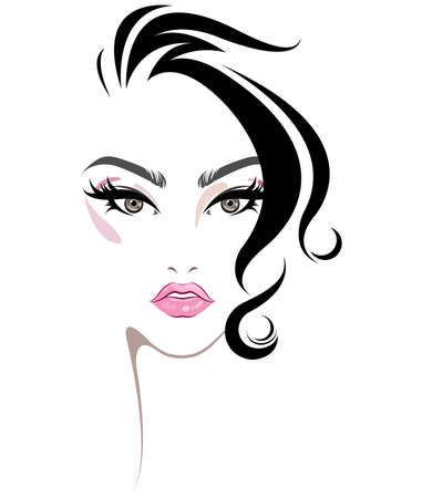 illustration of women hair style icon, logo women face makeup on white background, vector
