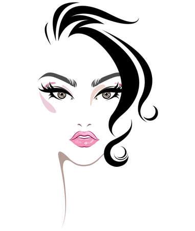 ilustração do ícone de estilo de cabelo feminino, logo maquiagem de rosto feminino no fundo branco, vetor