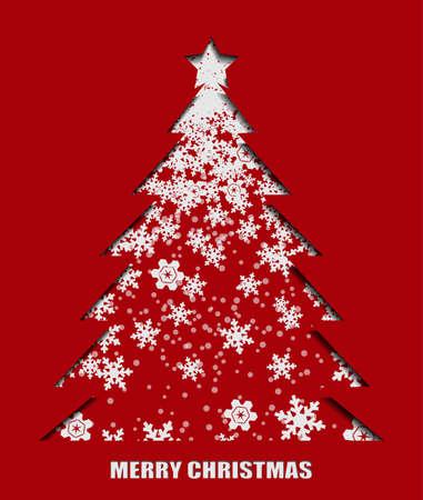 Illustration of snowflake pattern in Christmas tree shape. Illustration