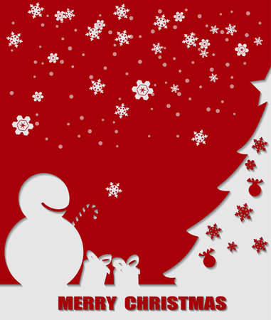Illustration of snowman and Christmas tree shape. Illustration