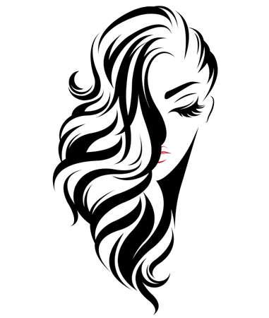 ilustracja kobiety długie włosy ikona stylu, twarz kobiety logo na białym tle, wektor Logo
