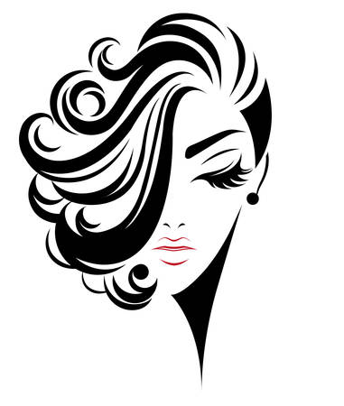 illustration of women short hair style icon, logo women face on white background, vector Stock Illustratie
