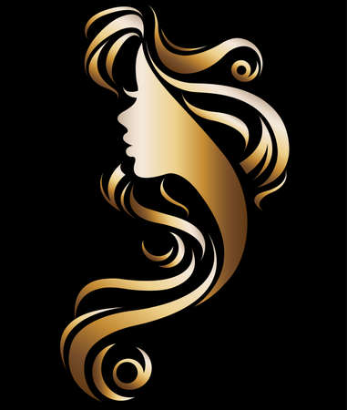 Illustration of woman's silhouette in gold color on black background.