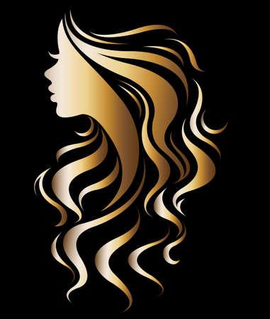 Wektor ilustracja kobiety sylwetka złotej ikony, logo twarz kobiety na czarnym tle