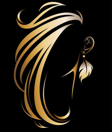 illustration vector of women silhouette golden icon, women hair and earring logo on black background Vettoriali