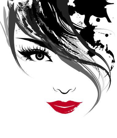 Illustrazione di belle donne, logo donne faccia trucco su sfondo bianco, vettore Archivio Fotografico - 96950731
