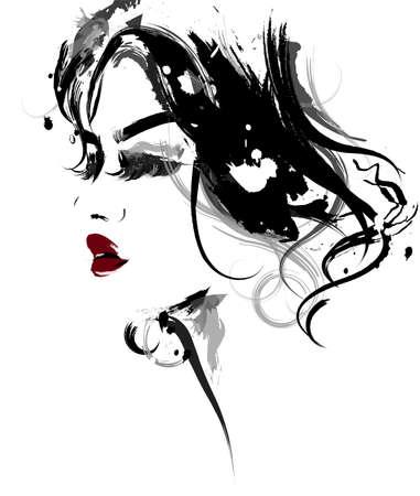 illustration of beautiful women,  women face makeup on white background Illustration