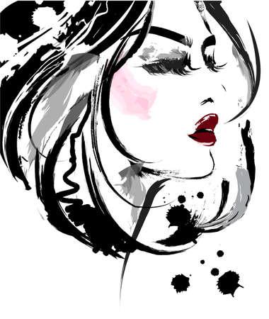 illustration of beautiful women, logo women face makeup on white background, vector. Illustration