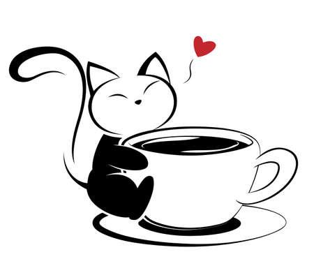 Illustration of black cat action on white background.